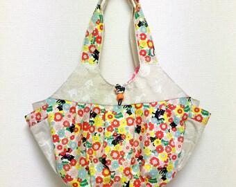 Fabric Shoulder Bag / Fabric Granny Bag / Cat Print bag --- Hide and Seek Cat in Flower Garden