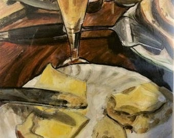 Wall Art -  Original Painting - Still Life - Bread and Butter - Leah Reynolds