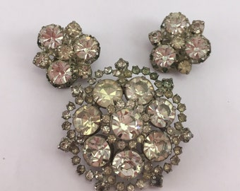 Absolutely dazzling rainbow-powered prong set Austria crystal rhinestone brooch and clip on earrings set perfect for bridal