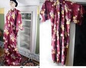 Vintage 90's boho kimono robe,  vintage bathrobe, lounge wear, cotton beach cover-up, Asian kimono, geisha, plus size, oversize, Japanese