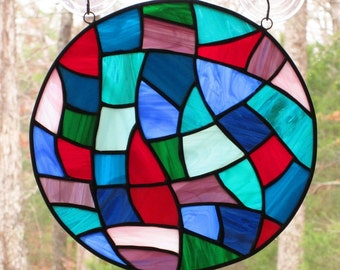 Stained Glass Round Panel, Multicolored Abstract
