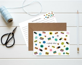 Set Of Five 'I Love You' Liquorice Allsorts Cards
