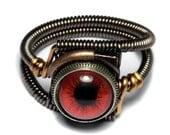 HAPPY HOLIDAYS SALE - Steampunk Jewelry - Eyeball ring - Red taxidermy glass eye