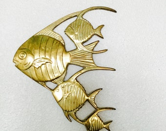 Vintage Brass Wall Mount School of Fish