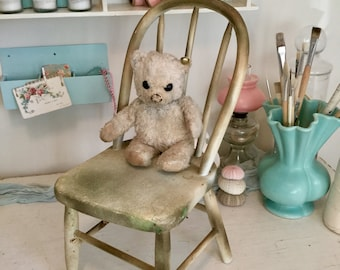 Small Bentwood Child's or Doll's Chair Painted Cream and Gold Antique