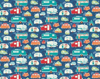 Road Trip Trailers Blue Fabric by Riley Blake Designs