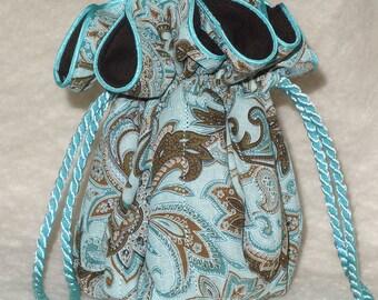 Anti Tarnish Jewelry Pouch Bag in Aqua Paisley