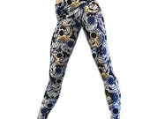 Blue & Yellow Sugar Skull Legging Fold Over Low/High Rise SXYfitness MADE IN USA