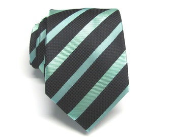 Mens Tie. Black Green Stripes Mens Necktie With Matching Pocket Square Option