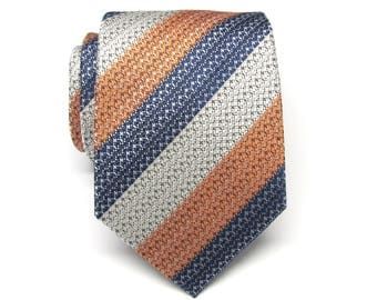 Mens Ties Silver Gray Blue Orange Stripes Necktie With Matching Pocket Square Option. Wedding ties.