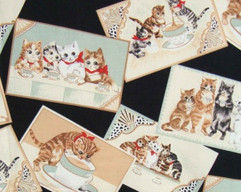 Vintage Cat Fabric Anthropomorphic Kittens Cotton Novelty Print Material Yardage 1.5 Yds