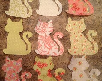 Set of 9 Large Moda Cotton Fabric Kitty Cat Iron-On Appliques