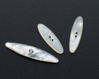 Three Mother of Pearl Shell Buttons,2 Hole Very Long Elongated Oval  1910 -1925,Elegant Antique Edwardian MOP Buttons (lot3)FREE UK Postage