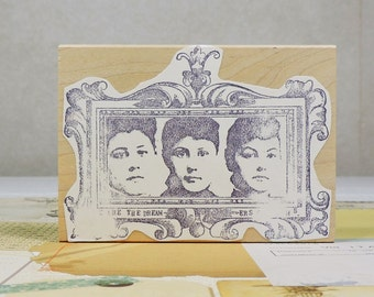 Wood Mounted Rubber Stamp, 3 Women by Zettiology