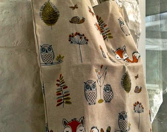 SALE - A Eco Market Grocery Shopping Bag for Life handmade from Woodland Fox Cream Lined Fabric