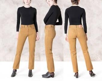 LEVIS 501 JEANS women xx VINTAGE 90s brown mustard High Waist mom / Size 6 8 / 29 waist / levi strauss