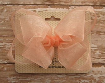 Large 5 inch Double Layer Boutique Loopy Style Organza Hair Bow in Light Peach