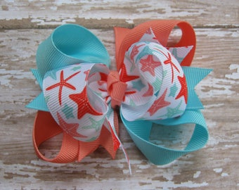 Coral and Ocean Blue Starfish Triple Loop Grosgrain Hair Bow - Petite 3 inch Boutique Hairbow