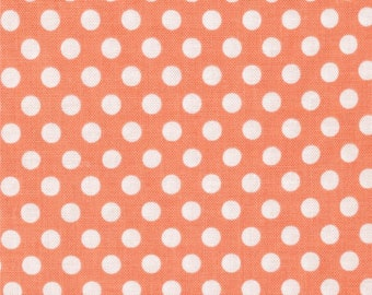 Michael Miller Kiss Dot Peach & White - Cotton Quilting Fabric  - fat 1/4 remnant