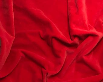 Hand Dyed Cotton VELVETEEN Fabric SCARLET RED - 1 Yard