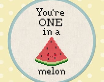 You're ONE in a melon.  Watermelon Fruit Slice Modern Simple Cute Cross Stitch Pattern. PDF File. Instant Download