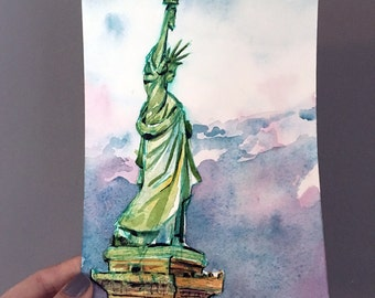 Statue of Liberty Painting - Original Art of Lady Liberty - New York City Landmark Created for Women's March - Watercolor and Ink Jen Tracy
