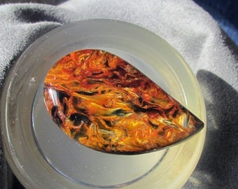 Holiday Sale 2016 25% OFF African Pietersite Cabochon in Fiery Orange Red Gold and Blue Premium Stone