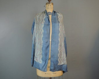 1920s Long Blue Silk Scarf, 15 x 67 inches, Vintage Pongee Silk