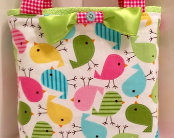 Happy Easter, Toddler Easter Basket, Reusable, Wrapping Paper, Birthday, Easter Egg Hunt, Gift Tote Bag, Birds, Chicks, Spring