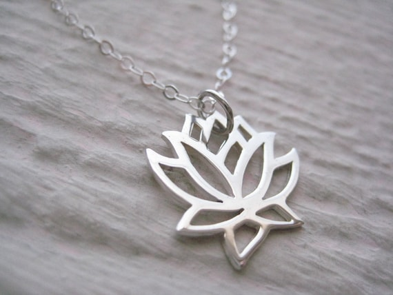 Padme Necklace- Sterling Silver, Lotus Flower, Gift, Simple, Everyday