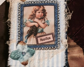 Needle book, needle case, Shabby Chic Victorian Girl with Kitten