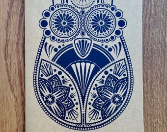CLEARANCE SALE Up To 90% Off ***Sugar Owl - Hand Screen Printed Card Greetings Xmas Card Black on Kraft***