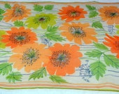 Vera Sheer Orange and Yellow Flowers Black Outlining on a White background - Oblong Rectangular Scarf