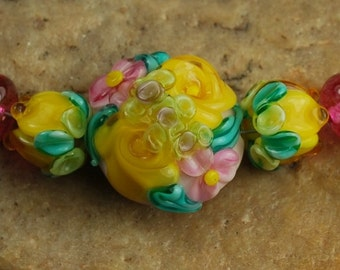 Glass Lampwork Beads, Garden Flowers, Pink, Yellow, Teal SRA #257 by CC Design