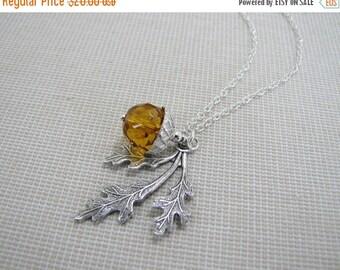 SALE Acorn Necklace Oak Leaf And Burnt Orange Acorn Autumn Inspired Jewelry