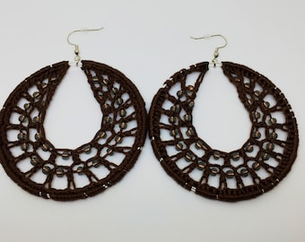 Crochet earrings, Beaded, silver, bohemian jewelry, crochet hoops, beaded earrings, crochet jewelry, hoop earrings, boho chic, brown