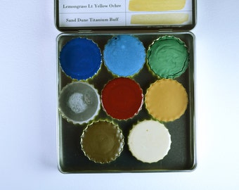 The Coastal Palette, Anthesis Arts Artisanal Handcrafted Watercolor Paints, Large Petal Caps, Square Travel Set of Eight