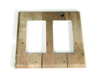 Double Rocker Switchplate  Light Switch Cover  Switch Plate in Barnwood  (201DR)