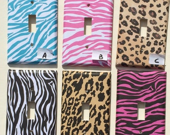 Zebra Cheetah Animal print Leopard  Switchplate Outlet Double Triple Quad Rocker Blank Cable Dimmer