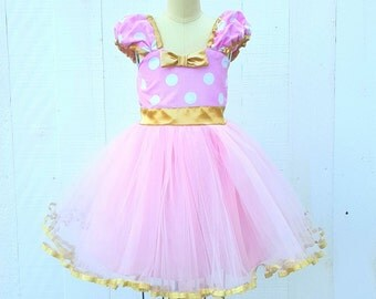 pink and gold MINNIE MOUSE dress, pink and gold first birthday outfit, pink and gold Minnie Mouse  birthday outfit, pink Polka Dot dress