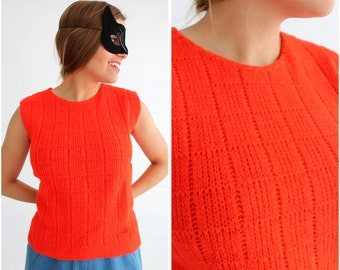 Vintage 50s/60s Bright Red Sleeveless Sweater by Jacqueline Knitwear Inc | Large