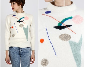 Vintage 1980s Super Soft White Angora Sweater with Geometric Design and Colorful Metallic Shapes by Homeguard | Small/Medium