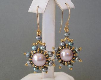 Round Lavander Shell Pearl Beadwork Bezel in Gold Seedbeads Earrings.