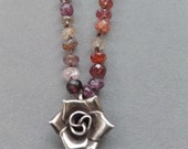 Faceted Spessartite Garnet Necklace, Hand Knotted Silk, Hill Tribes Silver Flower Pendant, Gemstone Necklace, January Birthday, BLOSSOM