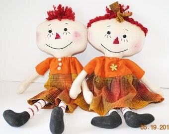 "Primitive Lil Raggedy Dolls, 18"" Anne and Andy type rag doll set, Orange Homespun"