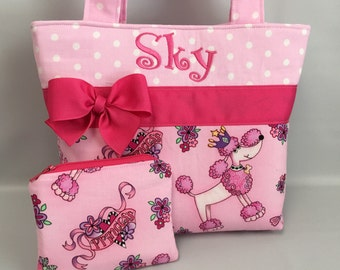 POODLE Princess ... PINK Dots ... Child ... GiRL  Purse   ...  Monogrammed .. Coin Pouch Available