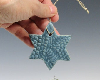 Star Ornaments - Blue Star Ornament - Hanukkah Star - Hanukkah Decoration - Pottery Star Decoration - Hanukkah Gift Tag - Christmas Ornament