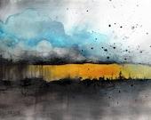 landscape painting on canvas A4 (12x8in) - raining cloud landscape art