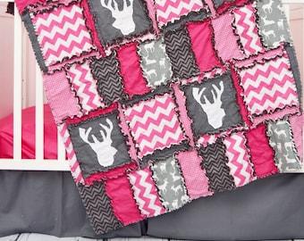 Baby Girl Deer Bedding - Gray / Hot Pink Woodland Nursery Bedding Baby Girl Nursery - Deer Baby Blanket Crib Bedding - Baby Crib Bedding
