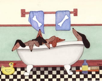 Dachshunds (doxies) fill tub at bath time / Lynch signed folk art print Weiner/Wiener Dog